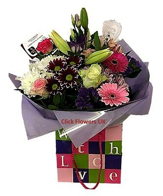 FRESH REAL FLOWERS  Delivered UK With Love Bouquet Free Flower Delivery