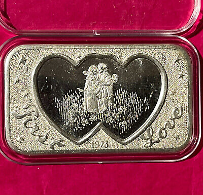 First Love Collectible Vintage Bar 1 Troy Oz .999 Fine Silver Ingot High Relief