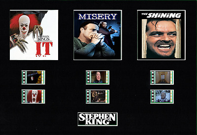 Stephen King Trilogy film cell display 10 x 8 mounted IT Misery The Shining