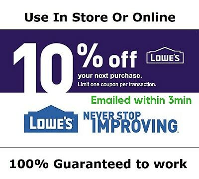 Five 5 Lowes 10% OFFCoupon InStore+Online  Lowe's -Exp. 10/31 _3min Delivery