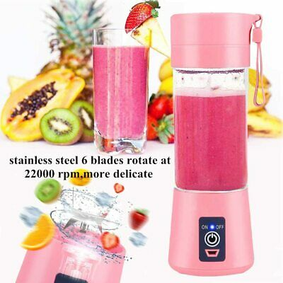 Portable Blender USB Juicer Cup Fruit Mixing Machine, Rechargeable 380ML Bottle