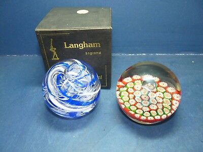 Langham Glass Paperweights Blue Swirl & Millefiori