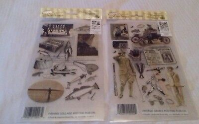 Royal Langnickel rub on transfers x 2 . Vintage games and fishing collage