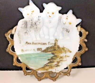 1901 PAN-AMERICAN EXPOSITION Souvenir Milk Glass Plate Cats BUFFALO WORLDS FAIR