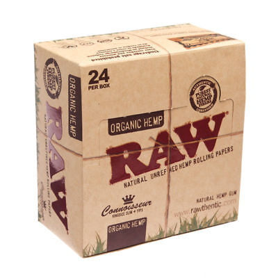 Genuine RAW Organic Hemp Connoisseur King size Slim Rolling Papers with Tips