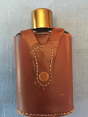 "Vintage 4"" Glass Flask in Saddle Leather Case Made In England"