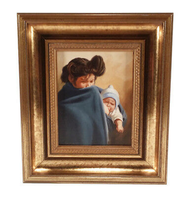 Vintage Antonio Sierra Mexican Artist Detailed Painting Charming Mother & Baby