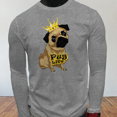 Funny Crown Dog Lovers Animal Cute Pug Life Cartoon Mens Gray Long Sleeve TShirt