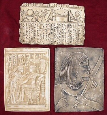 Lot of 3 Ancient Egyptian Wall Fragments King Tut, Isis, Horus, Mummy