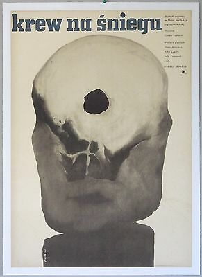 THE FEAST, 1967; Polish Movie Poster, Linen-backed, Skull with bullet hole art