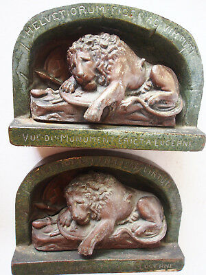 Pair Antique 1920's Lion of Lucerne Figure Cast Iron Bronzed Bookends 9757 Judd