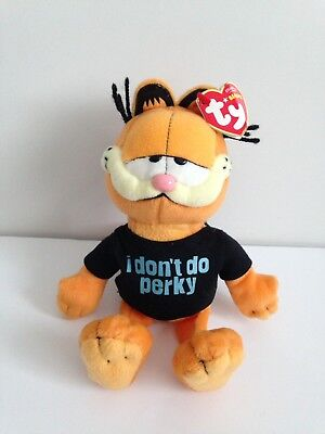 TY Beanie Babies Garfield Cat I don't Do Perky with Tags retro vintage