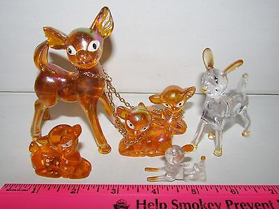 Vintage Lot (6) Acrylic Lucite Plastic DEER FAWN Toys Figures Hong Kong Chain