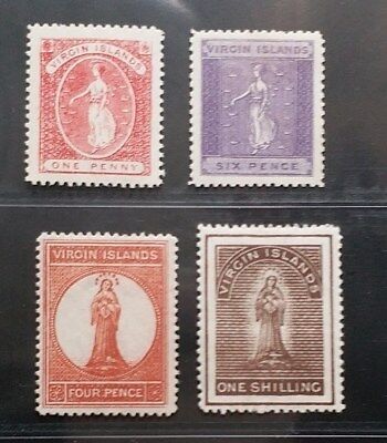 BRITISH VIRGIN ISLANDS 1887 QV 1d 4d 6d 1s SG 32 // 41 Sc 16 17 19 20 MLH/MH