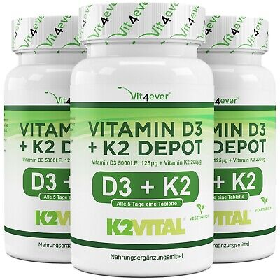 365 - 1095 Tabletten Vitamin D3 5000 I.E. + Vitamin K2 200 mcg MK7 All-Trans