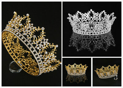 Vintage Rhinestone Bridal Tiara Crown w/ Comb Pin for Wedding/Engagement/Prom