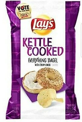 New Sealed Lays Kettle Cooked Everything Bagle With Cream Cheese Chips 8.oz Bag