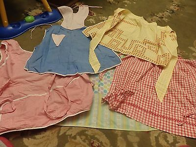 5 vintage cotton aprons