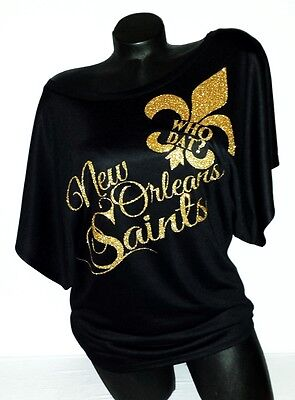 Sexy New Orleans Saints Flowy Shortsleeve Dolman Tee.Who Dat? Team Spirit!