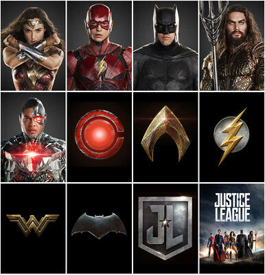 12pc Justice League Movie 2017 Mirror Surface Postcard Promo Card Poster Card C0