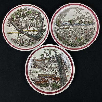Vernon Kilns 3 Bits of the South Plates Southern Mansion Cotton Patch Old Mill