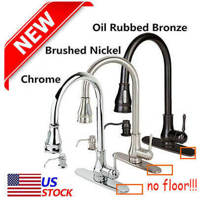 "18"" 16"" Kitchen Sink Faucet Pull-Out Spray Swivel Spout Dispenser Modern Style Q"