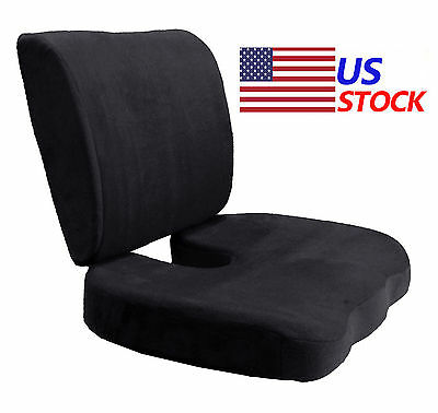 Memory Foam Coccyx Orthoped Seat Cushion Back Support Lumbar Pain Relief PillowQ