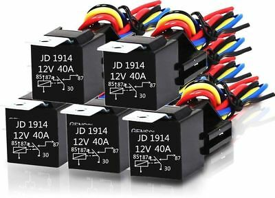 5x DC 12V Car SPDT Automotive Relay 5 Pin 5 Wires w/Harness Socket 30/40 Amp KE