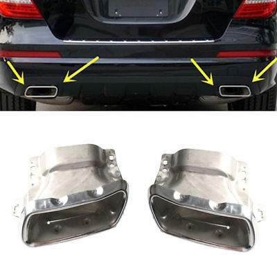 2x Chrome Exhaust Tail Pipe Extension Cover For Mercedes Benz W222 GL550 2010-12