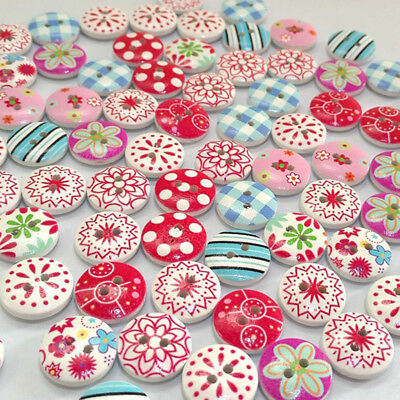 100Pcs Flower Grid Mixed Pattern Wooden Buttons Diy Sewing Scrapbooking Classy