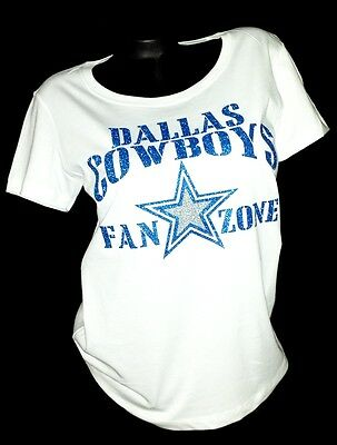 Dallas Cowboys Fan Zone White Lt. Weight Jersey Tee with Shiny Blue Lettering!