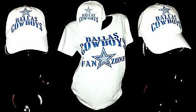 "Dallas Cowboys Fan Zone White Lt. Wght Jersey Tee~Adjst.B~ball Cap!""Combo Deal!"""