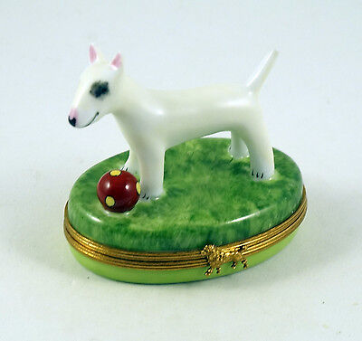 New French Limoges Trinket Box Bull Terrier Dog Puppy Playing With Ball