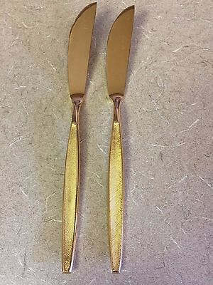 Vintage NASCO Stainless Gold Napoli Butter Knives - Set of 2