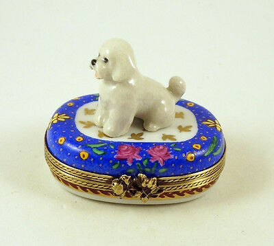NEW FRENCH LIMOGES BOX CUTE BICHON FRISE DOG PUPPY on BLUE BOX WITH ROSES