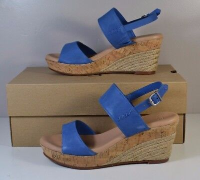 17e406cf978 NIB UGG AUSTRALIA Uggs Elena Azul Blue Leather Wedge Sandals Shoe Sz 6-10