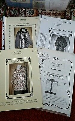 4 machine knit patterns by Jan Wright. see description and photos