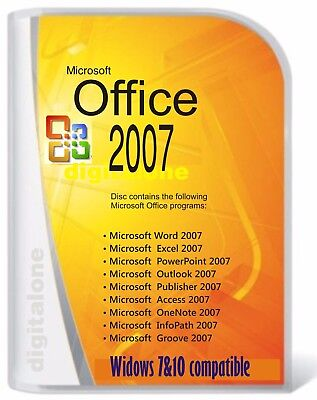Microsoft Office 2007 for Windows 7,8 &10 Word, Excel,Power P etc (3 PC Install)