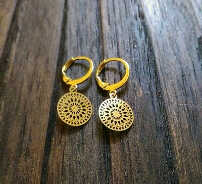 Circle Burst Filigree Design with Gold Stainless Steel Leverback Dangle Earrings
