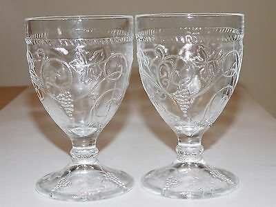 Two Crystal Pressed Glass Footed Goblets (May be Depression Glass)