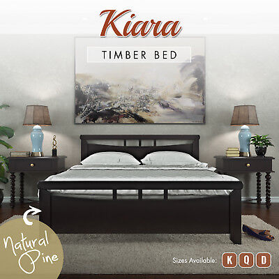 NEW Natural Solid Pine Wood Timber Bed Frame King Queen Double Bedroom Furniture