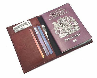 100% Real Leather Passport Travel Wallet Cover Holder Organiser Gift Boxed