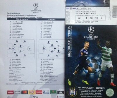 2017 ANDERLECHT v CELTIC CHAMPIONS LEAGUE PROGRAMME TEAMSHEET TICKET FROM GROUND