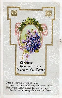 Christmas Greetings From Dromore Co. Tyrone Ireland Jtc Postcard Posted Dec 1919