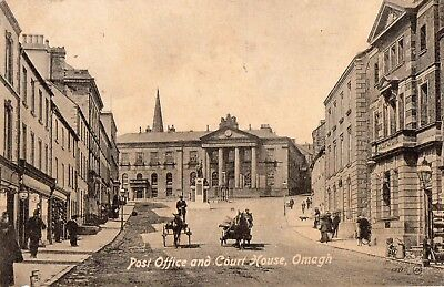POST OFFICE & COURT HOUSE OMAGH TYRONE IRELAND VALENTINES POSTCARD No.53717