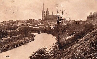 OMAGH FROM NORTH TYRONE IRELAND VALENTINES POSTCARD No. 53713 posted 1-JUNE-1920