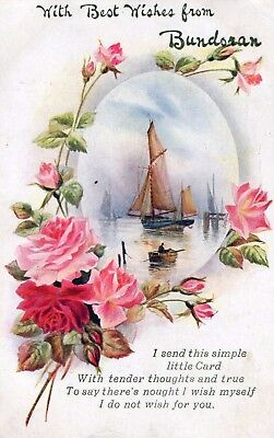 BEST WISHES FROM BUNDORAN CO DONEGAL IRELAND POSTCARD by W & K  POSTED 1916