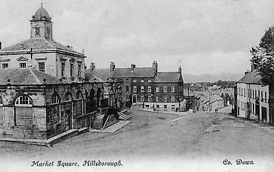 Market Sq Hillsborough Co Down Ireland Lawrence Irish Postcard Posted July 1906