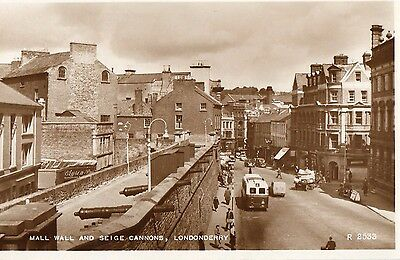 Mall Wall & Seige Cannons Londonderry Derry Ireland Rp Valentines Postcard R2533