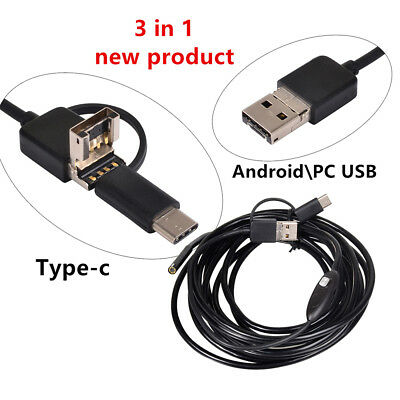 2M Semi Rigid Endoscope Inspection Camera Tube 6LED USB Type C Micro USB Android